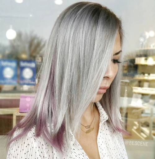 Gray Hair With Pastel Purple Highlights