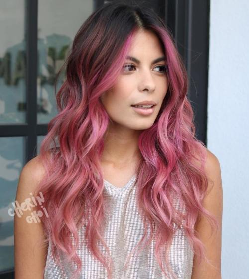 pink balayage for brunettes