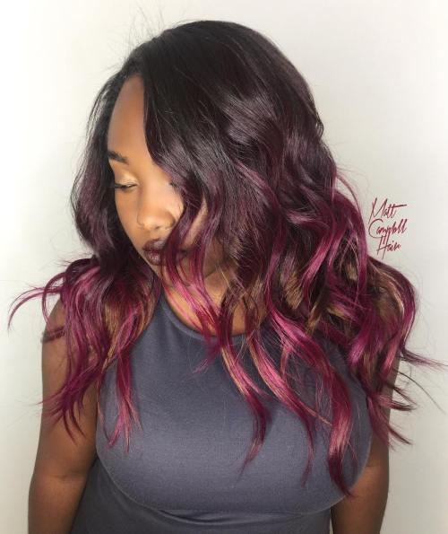 African American Burgundy Balayage Hairstyle
