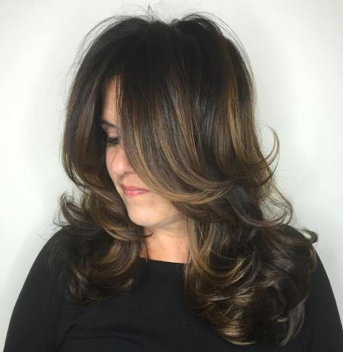 Dark Brown Hair With Golden Balayage