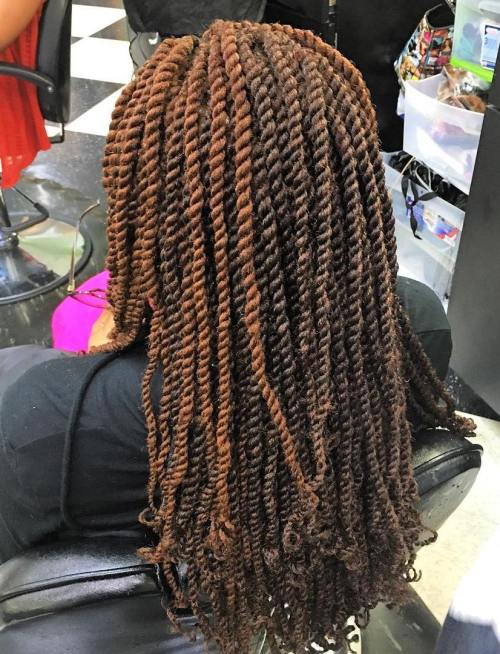 Light Brown And Dark Brown Kinky Twists