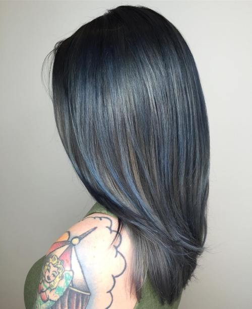 black hair with solver and blue highlights