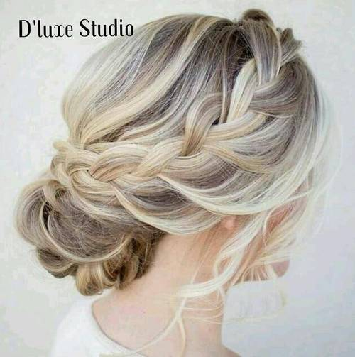 braided updo for brown blonde hair