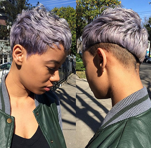 African American asymmetrical pixie