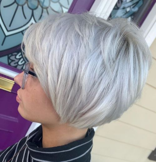 Choppy Silver Stacked Bob Hairstyle