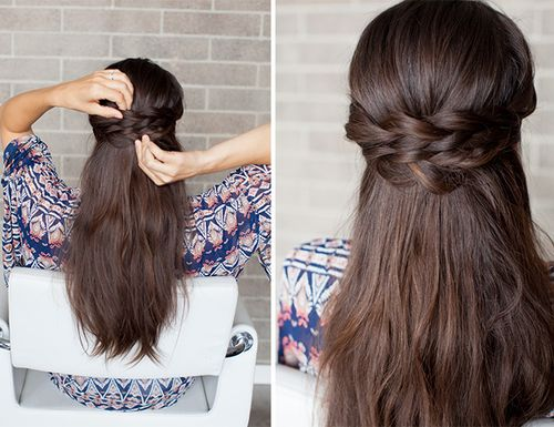 half up braided hairstyle for thick hair
