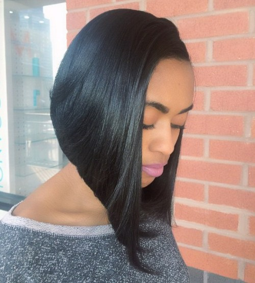 long asymmetrical bob for African American women