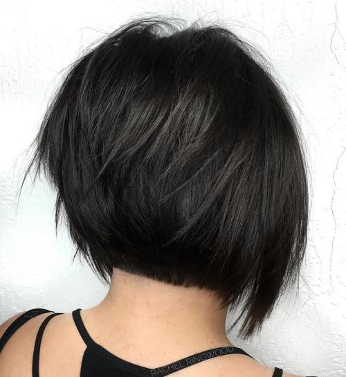 Short Layered Black Bob