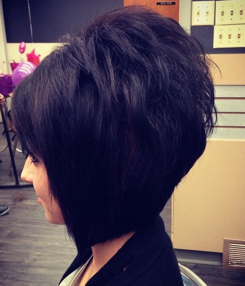 black layered backcombed bob