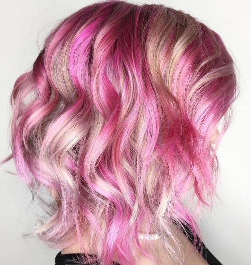 blonde and pink bob