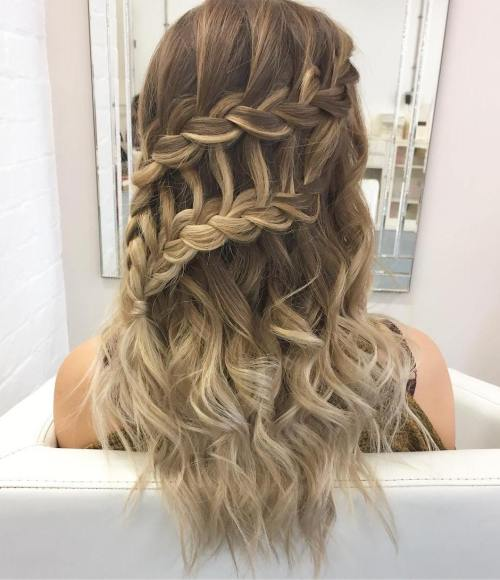 Half Updo With Waterfall Braids