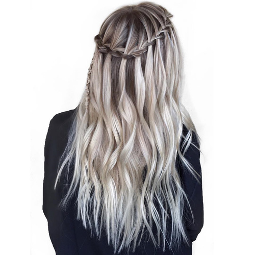 long ash blonde balayage hair with waterfall braid