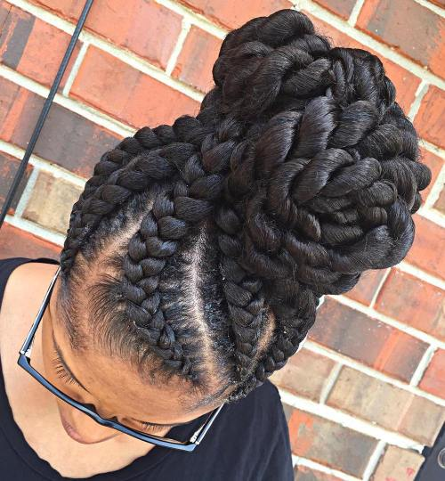 High Chunky Bun With Goddess Braids