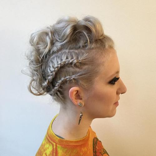 Curly Mohawk Updo For Thin Hair