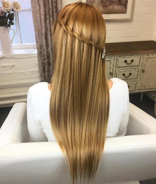 Diagonal Waterfall Braid For Straight Hair
