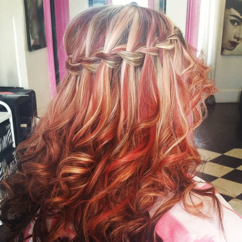 red balayage hair with waterfall braid