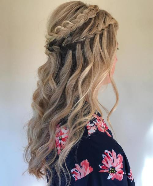 Wavy Double Waterfall Half Updo