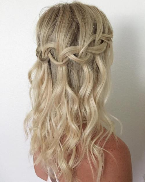Blonde Loose Waterfall Braid