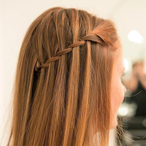 easy and creative waterfall braid hairstyle