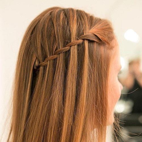 easy and creative waterfall braid hairstyle
