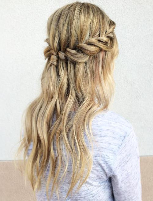 Half Up Waterfall Braid With A Ponytail