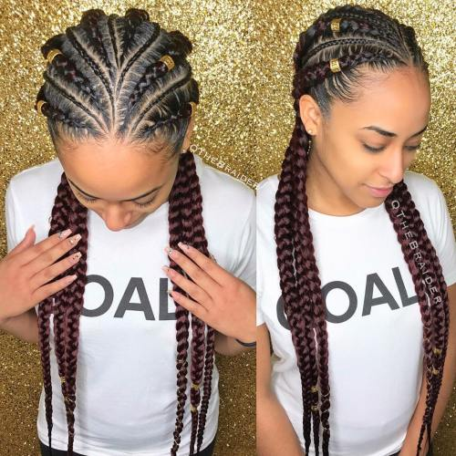 Burgundy-Tinted Goddess Braids
