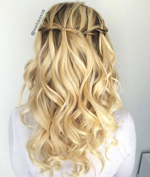 curly formal blonde half updo