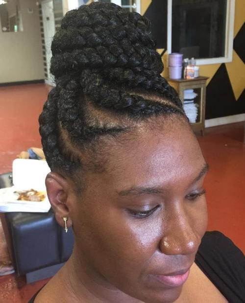 goddess braids updo with jumbo cornrows