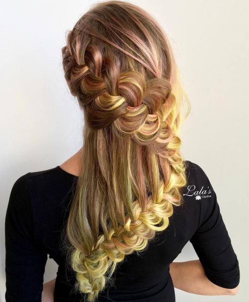 Snake Waterfall Braid Hairstyle