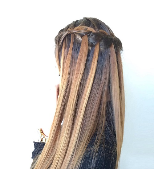 brown and caramel waterfall braid hairstyle