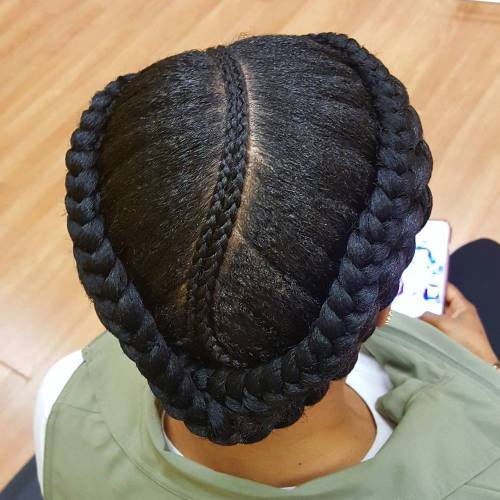 Black Centre-Parted Crown Braid Updo
