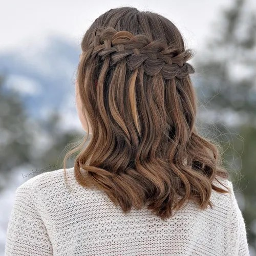 dutch waterfall braid for medium hair