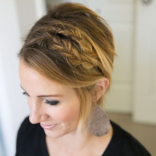 two fishtail braids for short hair