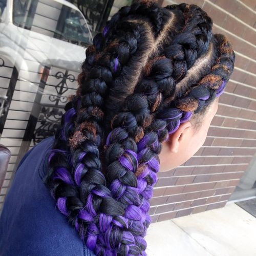 goddess braids with purple highlights