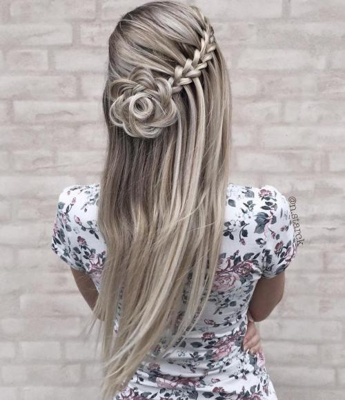 Waterfall Braid With A Hair Flower