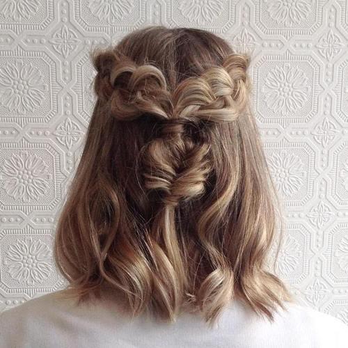 braided half updo for medium hair