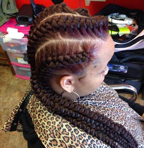 burgundy toned goddess braids