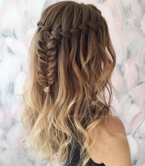 Half Up Waterfall Braid