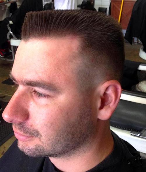 short flat top with temple fade