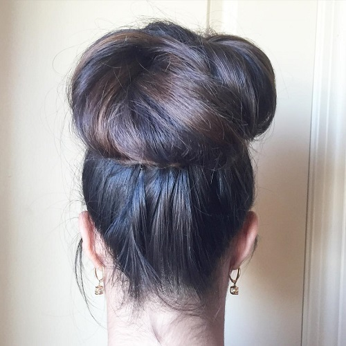 big high bun for long hair