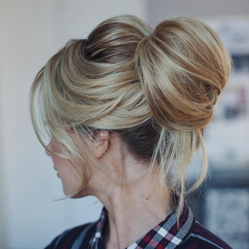 blonde messy top knot