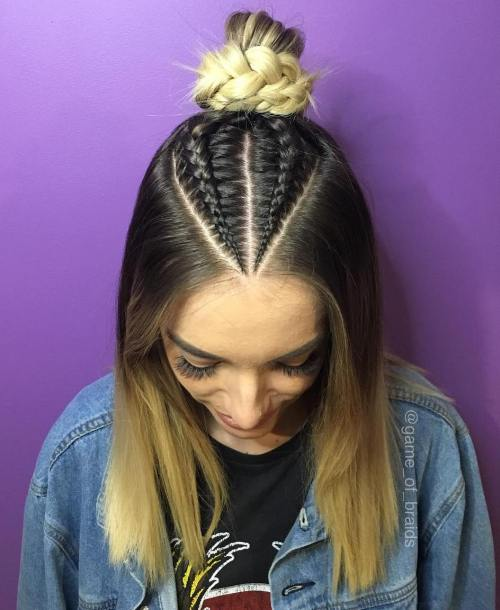 Braided Half Up Top Knot