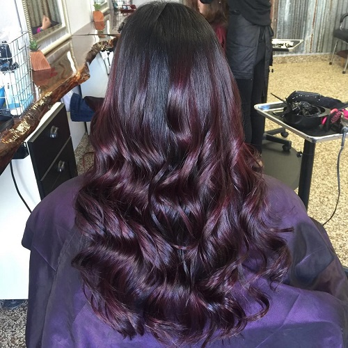 black and mahogany long balayage hair