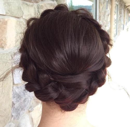 crown braid brunette updo