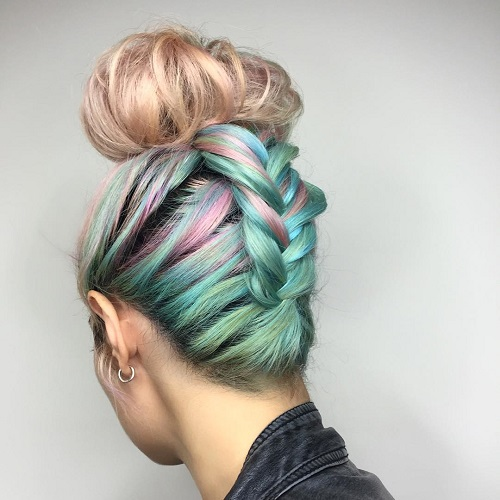 turquoise and pastel pink top knot updo
