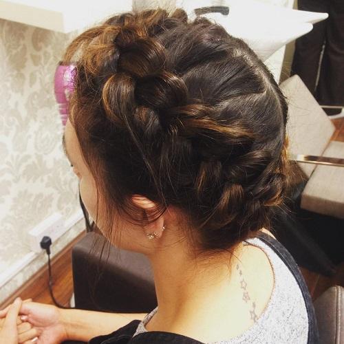 milkmaid braid updo with dutch braids