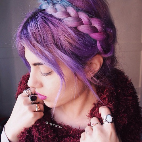 pastel purple hair color and milkmaid braid updo