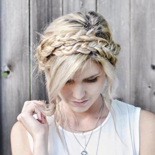 milkmaid braid updo with two braids