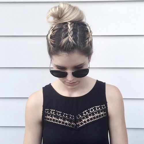 top knot with braided front