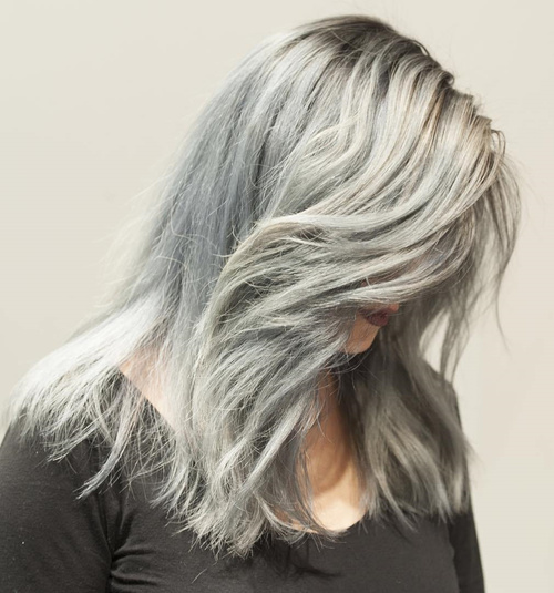 Long Shaggy Silver Hairstyle